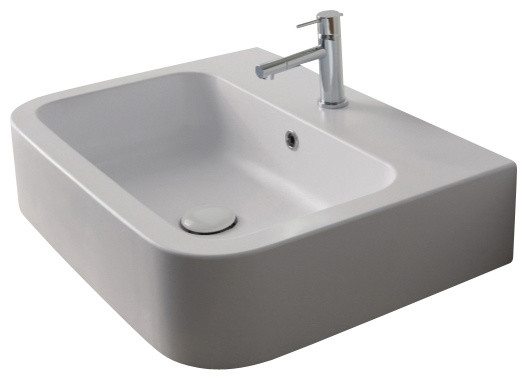 White Ceramic Vessel Or Wall Mounted Bathroom Sink, One Hole.