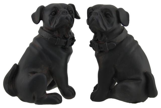 Adorable Brown Enamel Finish Pug Dog Bookends Set of 2