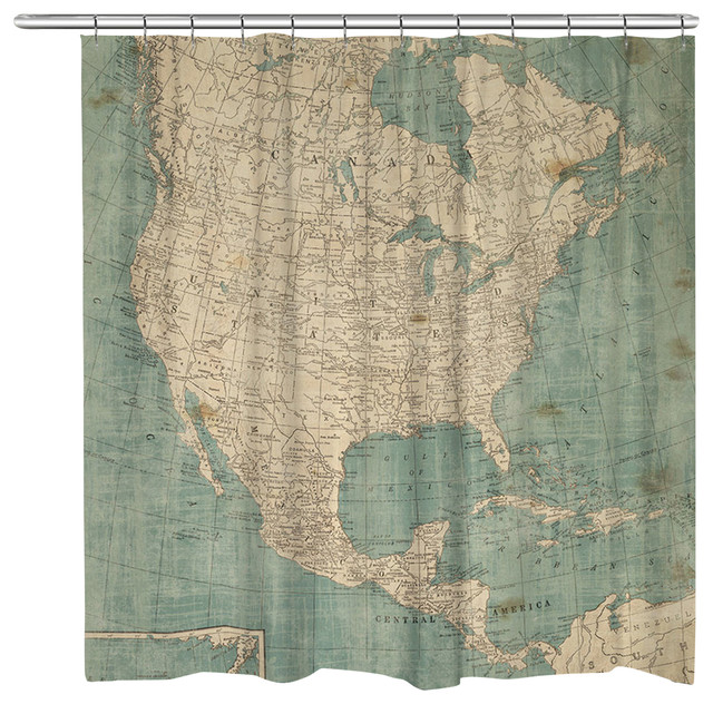 North America Map Shower Curtain Traditional