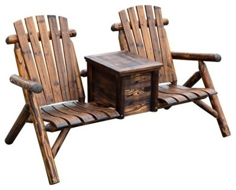 Wooden Outdoor 2 Seat Adirondack Patio Chair With Ice Bucket Rustic Brown Chairs By Aosom