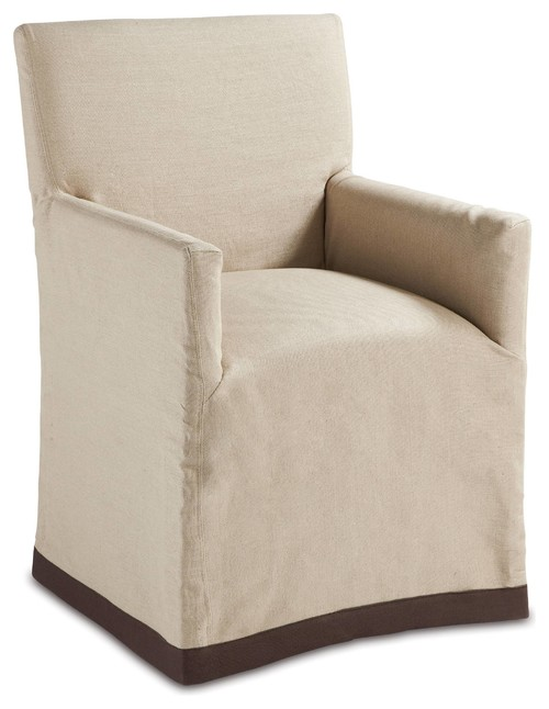 Terry Modern Classic Natural Linen Slipcover Dining Arm Chair