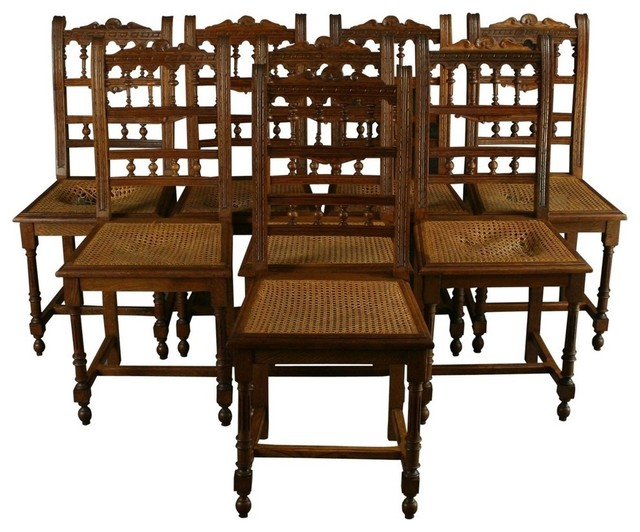 Consigned Antique French Renaissance Henry Ii Chairs, Oak, Set Of 8  traditional-dining - Consigned Antique French Renaissance Henry Ii Chairs, Oak, Set Of