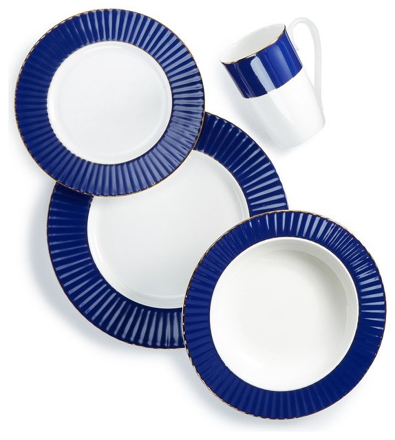 Lenox Pleated Colors Navy 48pc China Set Service For 12