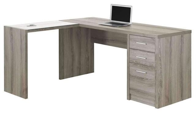 Computer Desk, Dark Taupe Corner With Tempered Glass