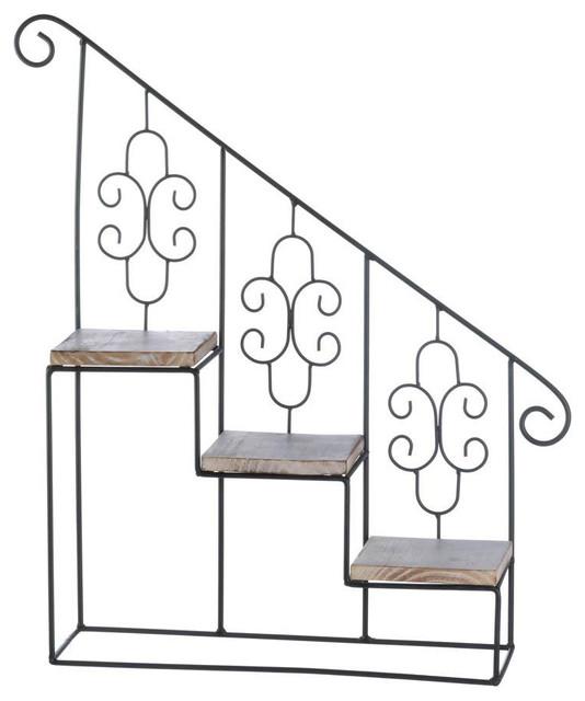 Black Stair Steps Wall Shelf Mediterranean Display And Wall Shelves