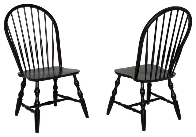 Windsor Spindleback Dining Chairs, Set Of 2.