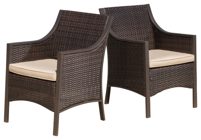 Orchard Outdoor Brown Wicker Dining Chairs With Tan Cushions Set Of 2