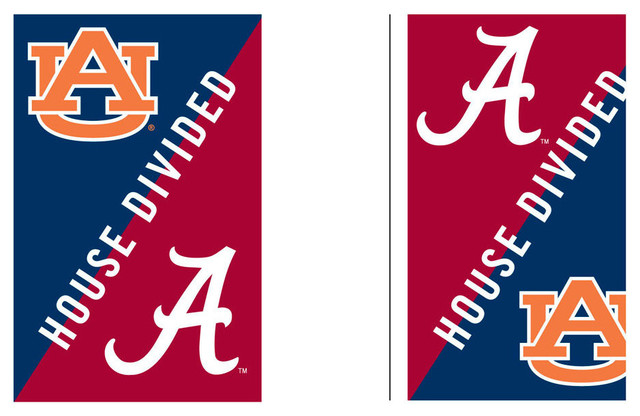 Auburn U0026 Alabama House Divided Garden Flag Traditional Flags And Flagpoles