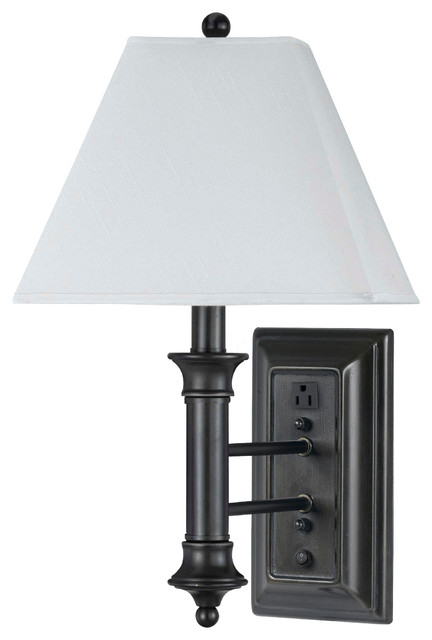 Wall Sconce With Outlet And Switch : Cal Lighting LA-8006Wl-1 60 W Wall Lamp With Outlet & Rck Switch - Transitional - Wall Sconces ...
