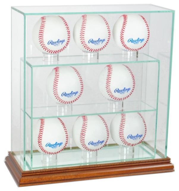 8 Upright Glass Display Case, Walnut