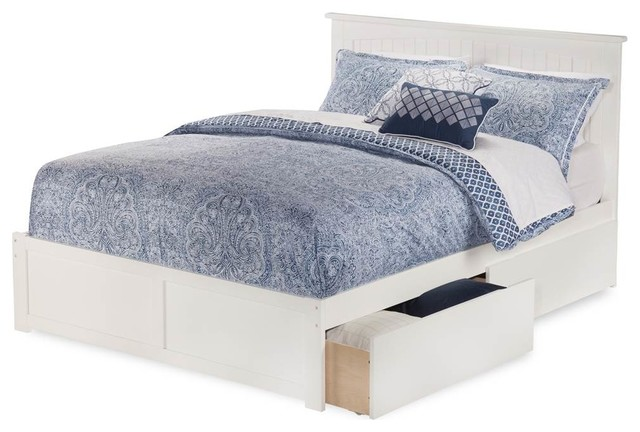 Eco Friendly Twin Flat Panel Platform Bed White Finish