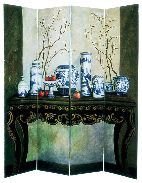 Wayborn Hand Painted Display Of Vase Room Divider Screens And Room