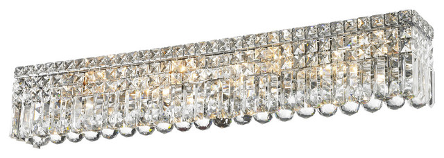 Contemporary 8 Light Chrome Clear Crystal Vanity Wall Sconce 36
