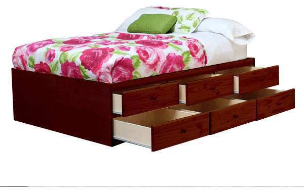 Full Size Storage Bed 12 Drawers Pine Wood Natural Teak