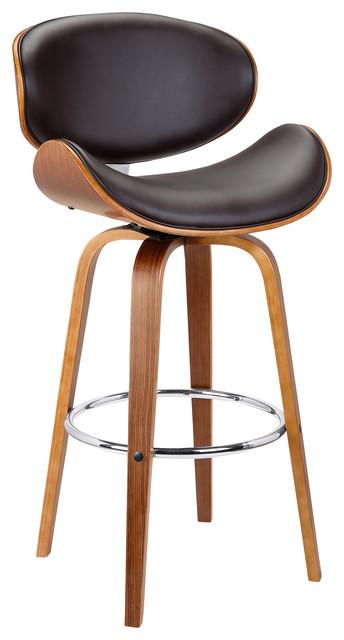 Benton 30 Swivel Bar Height Bar Stool, Brown Faux Leather, Wooden Legs.