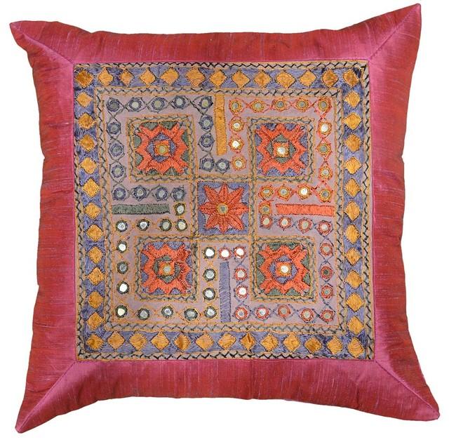 """Sofa Pillows Contemporary: Silk Hot Pink Accent Sofa Mirror Pillow Cover, 16"""" X 16"""