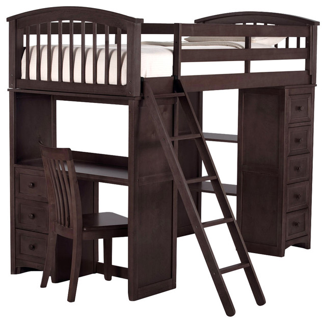 Asher Twin Size Student Loft Bed, Chocolate, Loft Only.