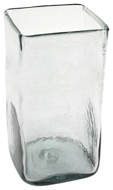 Large Tall Recycled Glass Square Vase Hurricane Candle Holder