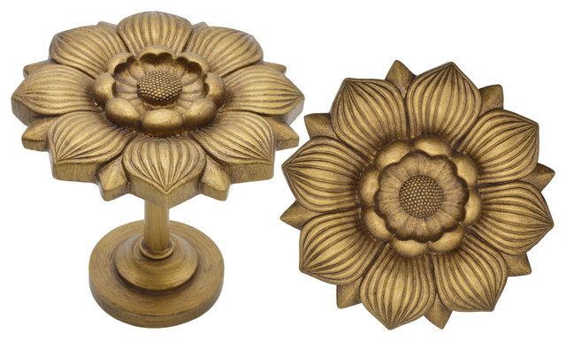 Urbanest Large Bloom Medallion Drapery Holdback, Set Of 2, Renaissance Gold.