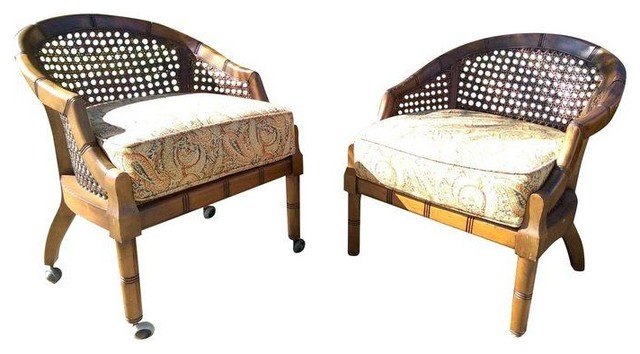 Vintage Cane Back Barrel Chairs   A Pair Modern Armchairs And Accent