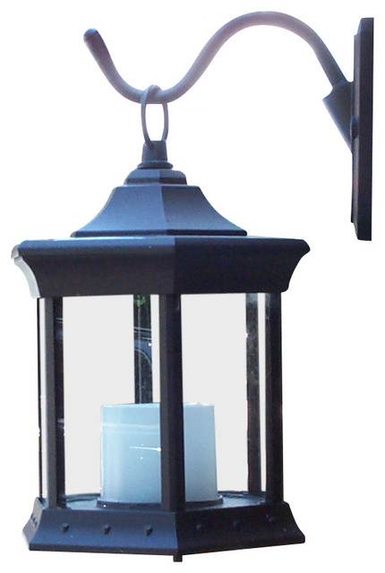 Solar Lantern Sconce, Clear Glass - Traditional - Outdoor ...