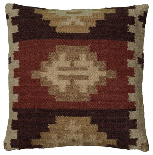 "18""x18""beige Decorative Pillow With Woven Southwestern Patten."