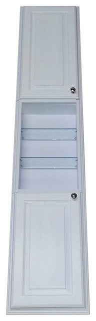 """Recessed Montery Pantry Storage Cabinet With 24"""" Center Shelf, White Enamel, 78""""."""
