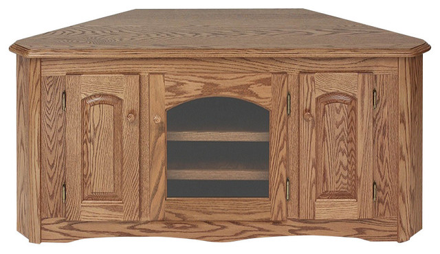 Solid Oak Country Style Corner Tall Tv Stand With Cabinet Traditional Entertainment Centers And Stands By The Furniture