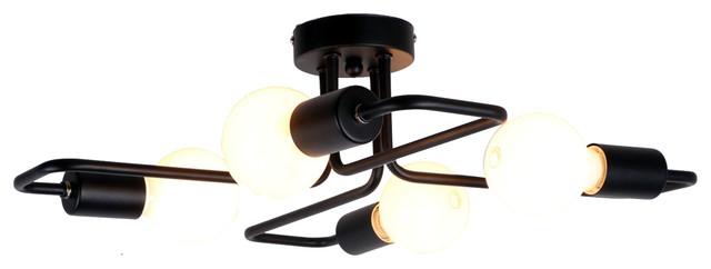 Black Vintage Barn Metal Semi Flush Mount Ceiling Light With 4 Lights.
