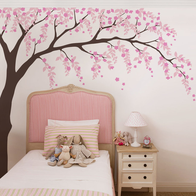Weeping Willow Tree Decal With Cherry Blossoms