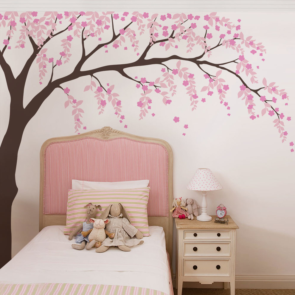 Weeping Willow Tree Decal With Cherry Blossoms Contemporary