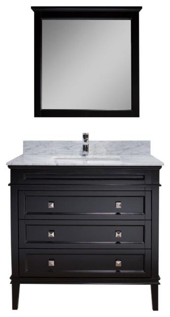 "Bordeaux 36"" Vanity With Mirror And White Carrara Marble Countertop, Espresso."