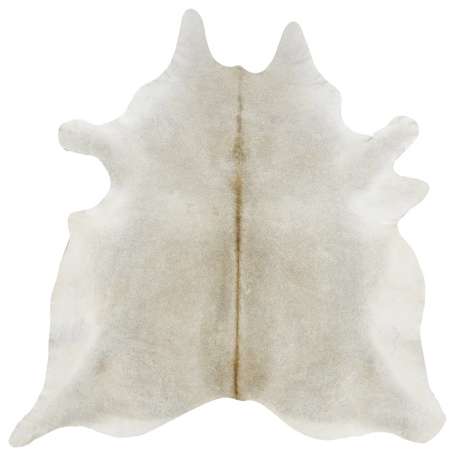 Gray Beige Solid Cowhide Rug, Large Contemporary Novelty Rugs