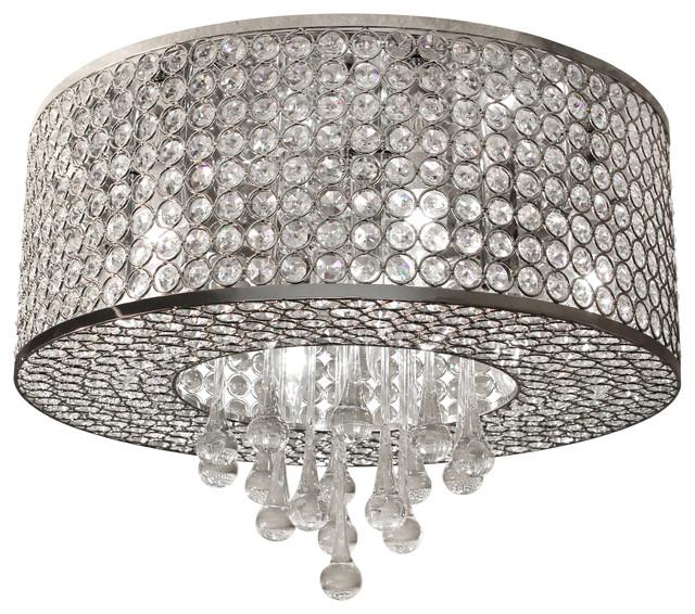 7-light Round Chrome Crystal Flush Mount Chandelier Pendant Light ...