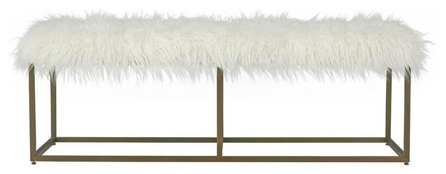 Modern Hollywood Regency White Alpaca Fur Bench. -1