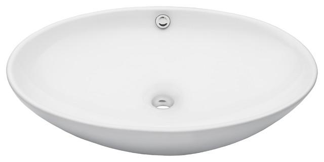Novatto Bianco Uovo Ceramic Vessel Sink With Overflow + Pop-Up Drain Set, Chrome.