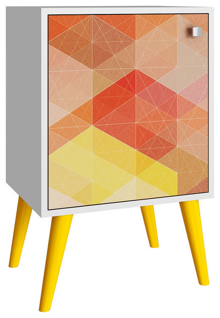 Accentuations Funky Avesta Side Table, White, Stamp And Yellow.