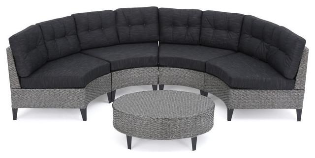 Attrayant GDF Studio 5 Piece Currituck Outdoor Black Wicker Sofa, Dark Gray Set