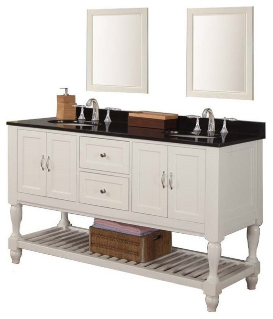 Mission Turnleg 60 White Double Vanity Black Granite Top With Mirror