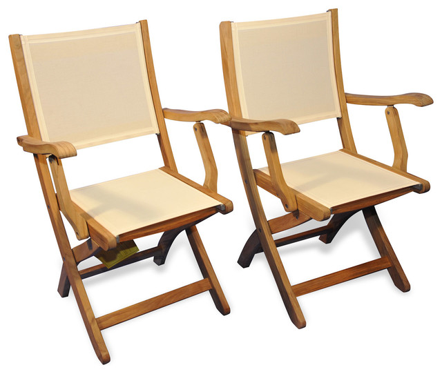 Exceptionnel Teak Folding Providence Chair With Batyline Cream, Set Of 2