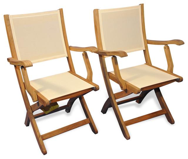 Ordinaire Teak Folding Providence Chair With Batyline Cream, Set Of 2