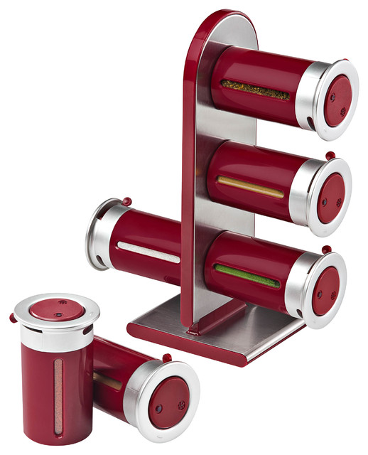Magnetic Spice Stand With 6 Containers, Red/Silver Kitchen Canisters And