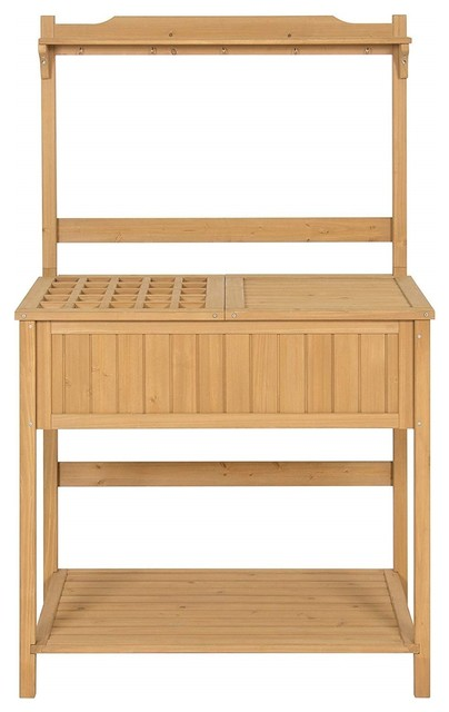 Outdoor Garden Potting Bench Work Table In Natural Fir Wood Finish    Transitional   Potting Benches   By Hilton Furnitures