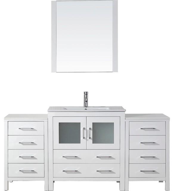 """Dior 68"""" Vanity, White, Ceramic."""
