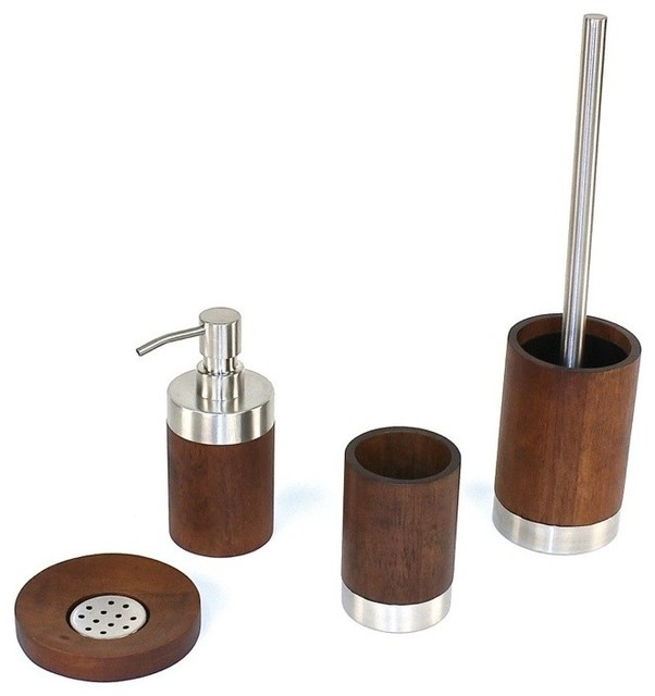 erica walnut wood bathroom accessory set - contemporary - bathroom