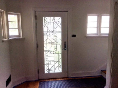 1) back of interior front door u0026 flanking windows & Art Deco/Streamline remodel - wood work u0026 doors - paint sheen?