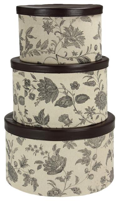 Hat Box Set With Faux Leather Lids, Floral, Tan, Black Floral.