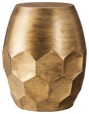 Threshold Round Metal Honeycomb Accent Table, Gold