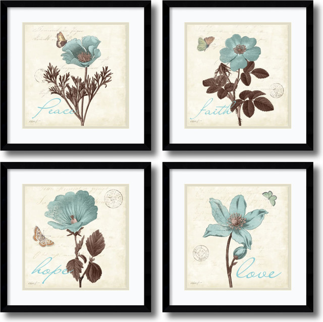 Katie Pertiet \'Touch Of Blue, Black Frame, Set of 2 - Traditional ...