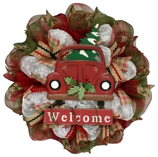 Burlap Deco Mesh Christmas Wreath Home For The Holidays Handmade.